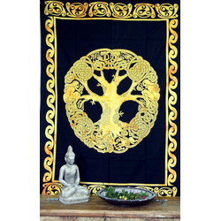 Tagesdecke Indisches Wandtuch, Batik Tagesdecke - Tree of.., Guru-Shop