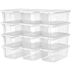 SONGMICS Schuhbox LSP12WT LSP12BK, 12er Set Aufbewahrungsboxen, weiß weiß