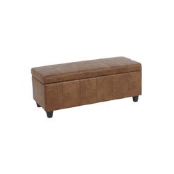 MCW Truhe Kriens, Mit praktischem aufklappbaren Deckel, Gepolsterte Sitzfläche, Integriertes Aufbewahrungsfach braun