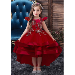 TOPMELON Abendkleid Prinzessin Kleid, Partykleid, Kurzarm, Mit Stickmuster rot 160