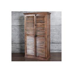 baario Kleiderschrank Kleiderschrank FARN braun Kleiderschrank oder Regalschrank massiv Shabby herausnehmbare Regalböden