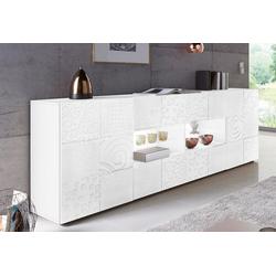 LC Sideboard Miro, Breite 241 cm mit dekorativem Siebdruck weiß