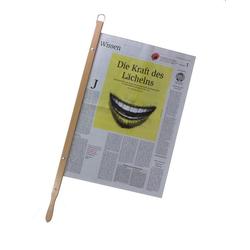 BigDean Zeitungsständer Zeitungshalter Zeitungsstock Old Times mit Einspannlänge 58cm Buche natur