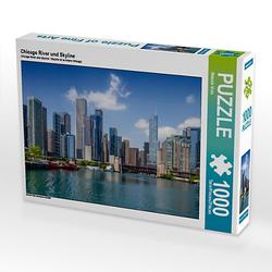 Chicago River und Skyline Lege-Größe 64 x 48 cm Foto-Puzzle Bild von Melanie Viola Puzzle