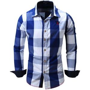 Herren Hemd Slim Fit Langarmshirt Freizeit Langarmhemd Bügelfreies Business Anzug Party Hochzeit Shirt für Männer Slim Fit Shirt Baumwolle Loose Fit KariertesTop (2XL, Blau)