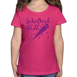 Shirtracer T-Shirt Schulkind 2020 mit Schultüte und Sternchen lila - Einschulung und Schulanfang - Mädchen Kinder T-Shirt - T-Shirts geschenke einschulung 116 (5/6 Jahre)
