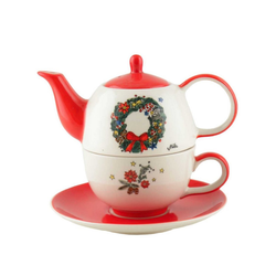 Mila Teekanne Mila Keramik Tee-Set Motiv Weihnachtskranz, 0,4 l, (Set)