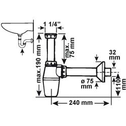 CORNAT Siphon Waschtisch-Geruchsverschluss, für Waschtisch-Tassen