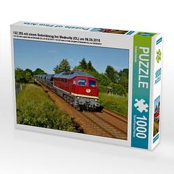 132 293 mit einem Getreidezug bei Medewitz (OL) am 06.06.2016 Lege-Größe 64 x 48 cm Foto-Puzzle Bild von Robert Heinzke Puzzle