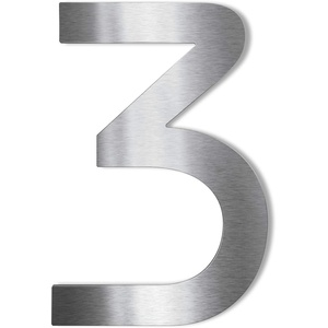 Metzler Edelstahl Hausnummer – wetterfest & pflegeleicht – selbstklebend - Schrift Bauhaus - Höhe 75 mm - Ziffer 3