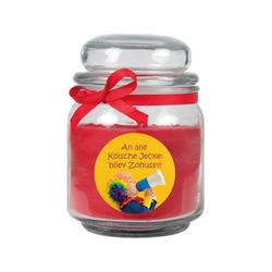 HS Candle Duftkerze (1-tlg), Karneval - Fasching Kerze im Bonbon Glas, Kerze mit Karneval's - Motiv rot Ø 9 cm x 9 cm x 13 cm