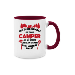 Shirtracer Tasse Leg dich niemals mit einem Camper an Tasse - Tasse zweifarbig