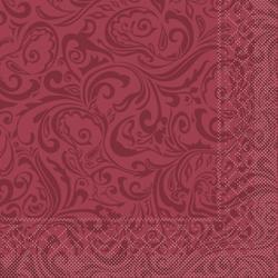 "Mank Tissue Servietten Ornaments ""LIAS"", 40 x 40 cm, 1/4 Falz, 3-lagig, 1 Karton = 6 x 100 Stück = 600 Servietten, bordeaux"