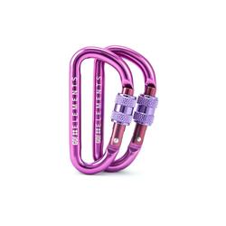 GO!elements Karabiner Micro 6, (2Stück), Schlüsselanhänger Mini Karabinerhaken klein mit Schraubverschluss lila