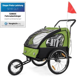 SAMAX 2in1 Fahrradanhänger / Jogger gefedert... Grün/Schwarz BLACK FRAME
