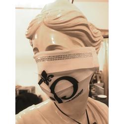 Casa Padrino Bling Bling Maske Weiß / Schwarz - CP Maske mit Glitzersteinen