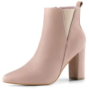 Allegra K Damen Spitze Blockabsatz Wildleder Stiefeletten Schuhe Chelsea Boots Dust Rosa 36