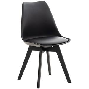 CLP Küchenstuhl Linares, Kunststoff mit Kunstlederbezug schwarz