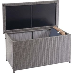 Poly-Rattan Kissenbox MCW-D88, Gartentruhe Auflagenbox Truhe ~ Basic grau, 51x100x50cm 170l