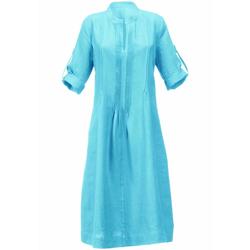 Abendkleid Kleid aus 100% Leinen mit Stehkragen Anna Aura türkis