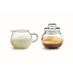 Sendez Milch- und Zuckerset Milchkännchen & Zuckerdose Set Milchgiesser Zuckerstreuer Zuckerspender aus Glas