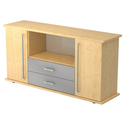 KAPA SB | Sideboard | mit Türen + Schüben - Ahorn Sideboard Chromgriff Metall
