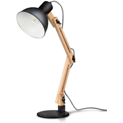 Tomons LED Schreibtischlampe LED Leselampe im Klassichen Holz-Design schwarz