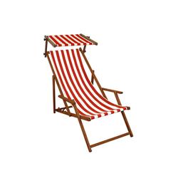 Gartenliege rot-weiß Strandliege Sonnenliege Holz Relaxliege Sonnendach Strandstuhl 10-314 S