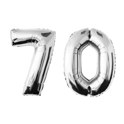 MyBeautyworld24 Folienballon Folienballon Zahlenballon in der Farbe silber Heliumballon Riesenzahl Geburtstag Deko Höhe 100 cm 70