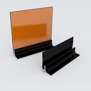 Küchenrückwand-Profilsystem Sockelprofil Aluprofil Aluminiumprofil für 3mm Duschrückwand Küchenspiegel 300cm schwarz