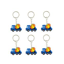 6x Schlüsselanhänger Auto LKW Anhänger Kinder Geburtstag Mitgebsel - blau