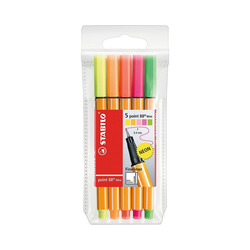 STABILO Fineliner Fineliner point 88 Mini NEON, 5 Farben