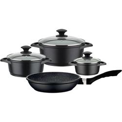 GSW Topf-Set Gourmet Granit, Aluminiumguss, (Set, 7 tlg.), Induktion schwarz Topfsets Töpfe Haushaltswaren