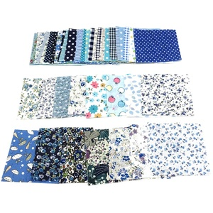 Ponnen Baumwollstoff Baumwolltuch DIY Nähen Patchwork Quilten Puppe Tuch Handgefertigte Hand Stoff Stoffpaket Stoffreste, 10x10cm, 50 Stück Blau