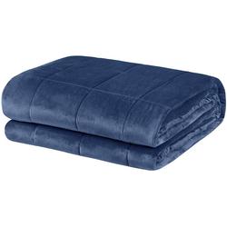 Bett, Woltu, Gewichtete Decke 150 x 200 cm, 11 kg, Blau
