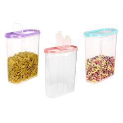 BigDean Müslibox 3x große Schüttdosen inkl. 3 Deckel − 2,8 Liter Volumen − Streudosen 2 Öffnungen, Vorratsdosen für Müsli, Cornflakes, Kaffee, Kunststoff, (3-tlg)