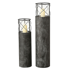 Kerzenleuchter Glasaufsatz Glas Kerzenhalter Windlicht Deko Innen, Grau Eisen, Höhe 75-100 cm, 2er Set