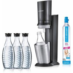 SodaStream Wassersprudler CRYSTAL 2.0 titan, (Set, 5-tlg., 1 Wassersprudler, 3 Glaskaraffe, 1 Zylinder)