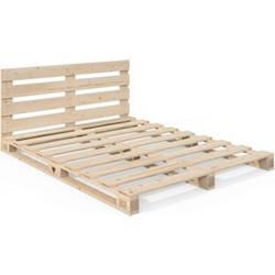 VitaliSpa Palettenbett 140x200 Bett Massivholzbett Holzbett Palettenmöbel Kopfteil
