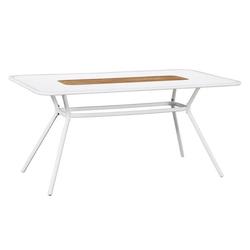 MWH Tavio Gartentisch 160x90 cm Streckmetall mit Creawood-Inlay Weiß