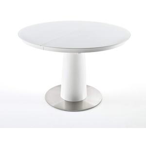 Esstisch rund Weiß matt lackiert, Tisch mit Glasplatte ausziehbar, BxHxT 120-160x76x120 cm