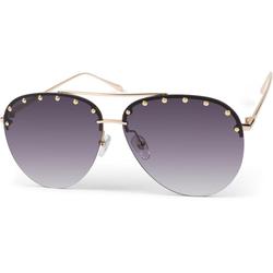 styleBREAKER Sonnenbrille Rahmenlose Piloten Sonnenbrille mit Nieten Getönt goldfarben
