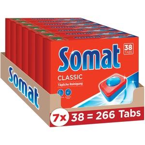 Somat Classic, Spülmaschinen-Tabs, Jahresvorrat, 266 (7 x 38) Tabs für die tägliche Reinigung von Besteck und Geschirr