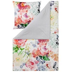 ESTELLA Bettwäsche Rose | Multicolor | 135x200 + 80x80 cm | Mako-Satin mit seidigem Glanz | trocknerfest | atmungsaktiv und anschmiegsam | 100% Baumwolle