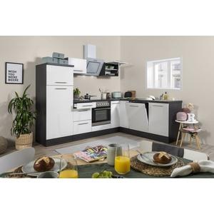 Winkelküche Küchenzeile Küche L-Form Einbau Eiche weiß Glanz 260x200cm respekta