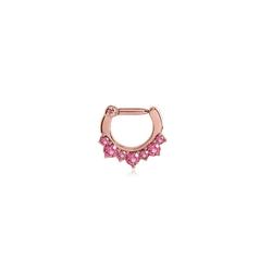 BodyJewel Nasenpiercing Septumring mit Kristallsteinen, Chirurgenstahl 316L rosa