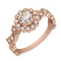 Verlobungsring im Vintage-Stil mit Morganit und Diamanten Jyspie