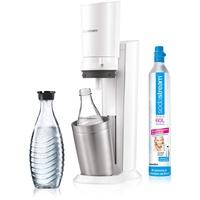 Sodastream Crystal 2.0 weiß + Glaskaraffe + Zylinder