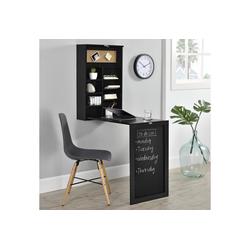 en.casa Wandregaltisch, Ausklappbarer Schreibtisch [Schwarz] - Mit Regal, Pinnwand & Tafel schwarz