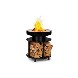 blumfeldt Feuerschale Wood Stock 2-in-1-Feuerschale BBQ-Grill Ø56cm Edelstahl schwarz, Romantik pur: Feuerschale für Wärme und Atmosphäre im Garten und auf der Terrasse 56 cm x 56 cm x 66 cm